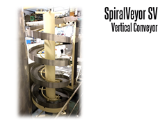 The SpiralVeyor SV Series Vertical Conveyor is ideal for handling packaged products and cases; it can be used for both elevation and accumulation conveying.