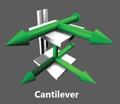 """The Mechanical Cantilever VRC showcases a 2 post configuration allowing the choice of a """"C"""", """"Z"""" or 90° loading or unloading pattern."""