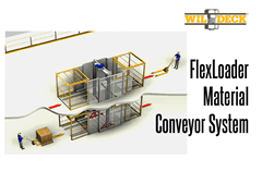 A FlexLoader Material Conveyor System integrates a Wildeck VRC with Safety Gates and an automated, flush mount conveyor system into one work platform designed to maximize space usage.