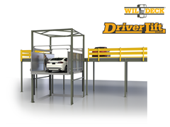 The DriverLift™ Allows automotive dealerships, motorsports, vehicle storage facilities, private garages, showrooms, and convention facilities to conveniently and safely move their vehicles between floor levels with their owners.  Contact an Automation Engineering Specialist at Thomas Conveyor to help determine if the DriverLift™  Rideable Vehicle Lift can enhance your operations. Call us today!