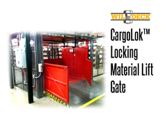 The CargoLok™ bi-parting locking safety carriage gate for VRCs is a fitting solution for curbing movement of heavy carts or other rolling loads placed in a VRC carriage.