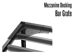 Bar grating is commonly used decking for mezzanines, platforms, catwalks and conveyor systems.