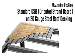 Standard type decking provides good resistance to foot traffic and can handle wheel loads up to 300 lbs. This is a durable selection for general storage and office applications.  It is the most economical deck option available.