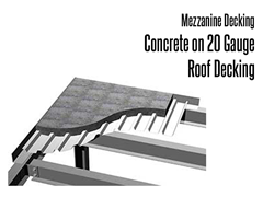 With concrete decking, you will experience the strongest and most durable mezzanine flooring available. When you use this type of deck, high point loading and capacity is not a problem. Concrete density dramatically reduces noise transmission through the floor. Concrete and steel decking is primarily for fire rating and/or chemical applications.