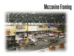 Second story mezzanine framing working in tandem with incline conveyor systems