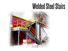 Welded steel stairs are available with open or closed treads