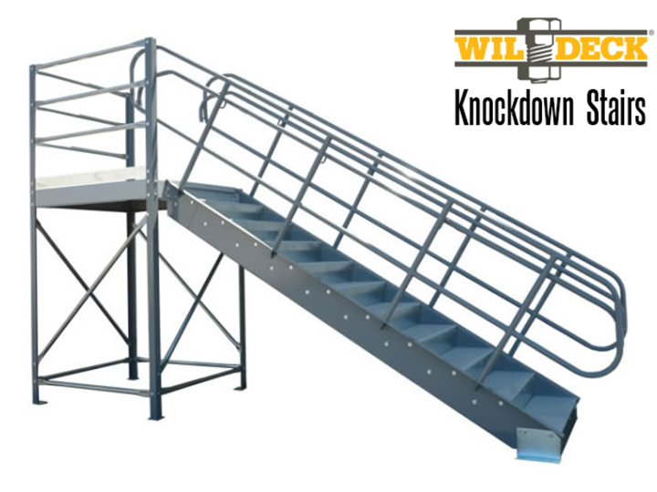 Knockdown stairs are stairs where the treads and stringers are field assembled.