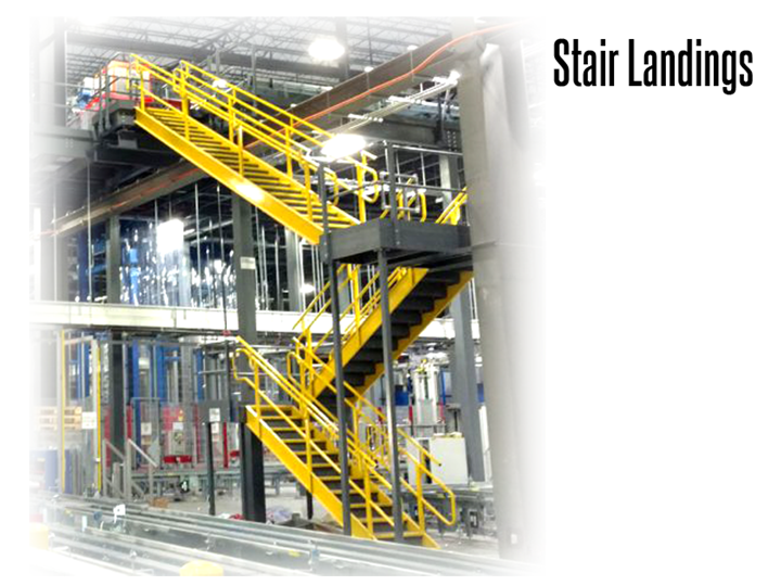 Stair landings increase safety and efficiency for mezzanine and work platform stair systems.