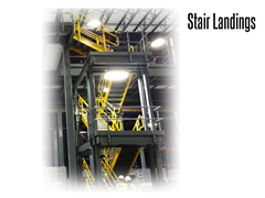 Work platform or mezzanine steel stair landings can be easily integrated into stair systems.