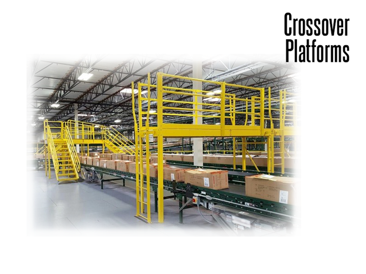 Conveyor crossovers and access platforms allow workers to walk over obstructions safely.