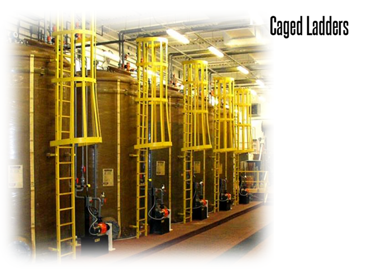 Vertical caged ladders protect workers while climbing in a production area.
