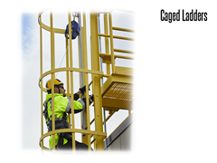 Caged Fixed Ladders meet OSHA and ANSI standards as applicable, but are also ergonomically designed for user comfort as well as safety.