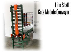 The gate acts as a drawbridge: when raised, product stops at the end of the previous conveyor, and only continues when the gate is closed.