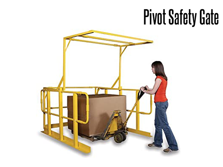 The pivoting gate has a simple operation.  When one side is raised, the other closes, allowing quick, convenient and safe access to workers and forklifts.