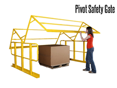 A pivot safety gate will protect open areas on mezzanines, work platforms, balconies and racking systems during loading and unloading of product.