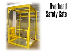Overhead safety gates provide safe access to palleted material to and from a mezzanine or work platform.