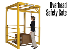An Overhead Safety Gate utilizes minimal square footage while maximizing safety by protecting staff from hazards and falling product.