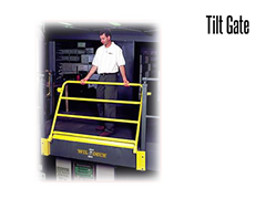 A tilt gate provides an extra measure of safety when workers are handling pallets of product on mezzanines.