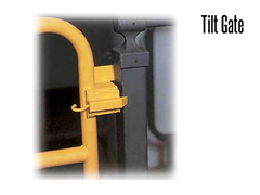 Similar to a standard pullout mezzanine gate, the Tilt Gate is equipped with spring loaded latches for quick gate removal.