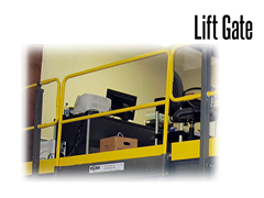 Work Platform Lift Out Gate remove to allow for unobstructed access to the mezzanine to load and unload material