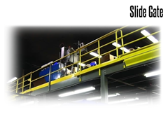 """Wildeck mezzanine slide gates attach to the side of mezzanines with a standard clear opening of 6' - 0"""" and a required footprint of 14' - 9""""."""