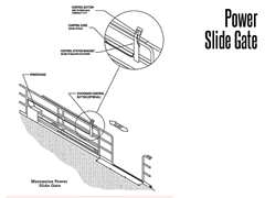 Wildeck's power slide gate can be operated by a remote control, by a stationary control button, or by a hanging pendant.