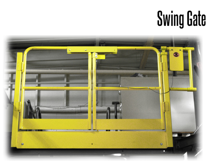 Swing gates allow easy and convenient opening and closing for mezzanine access.