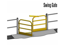Swing Gates are painted safety yellow for high visibility.  Other colors are available.