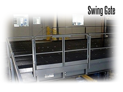 Gates can be fabricated with 2-rail, 3-rail or mesh systems to match existing mezzanine or rail systems