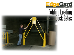 EdgeGard™ Folding Rail Gate protects wider openings and minimizes required clearance heights.