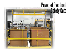 A powered overhead safety gate model uses dual, counterbalanced gates to maintain a safe environment at all times.