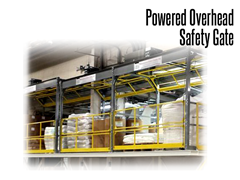 Designed to secure guardrail openings on elevated platforms and mezzanines, a Powered Overhead Safety Gate is ideal for protecting pallet drop areas in doorways.