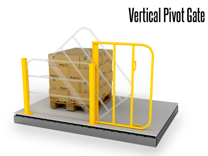 A Vertical Pivot Gate offers the ultimate solution for those pressed for horizontal clearance space. Specifically designed to operate on the vertical plane, this gate easily integrates with pick modules and mezzanine/deck surfaces.