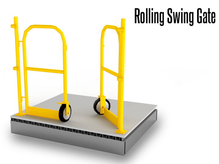 Rolling Swing Gates maximize space and safety on pick modules and mezzanine/deck surfaces. The gates' simple and cost-effective design are the ideal solution for those instances when overhead space is limited.