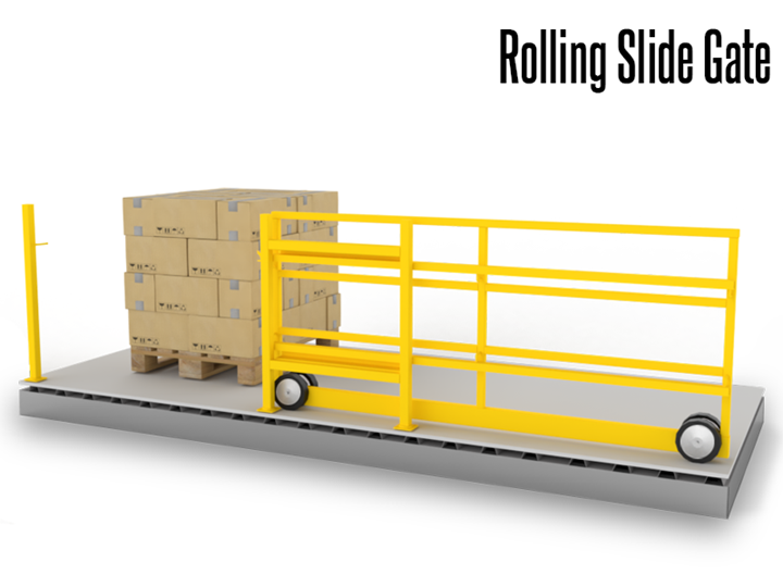 The space-efficient operation of our Rolling Slide Gate makes it an ideal gate for pick module operations and mezzanine/deck surfaces.