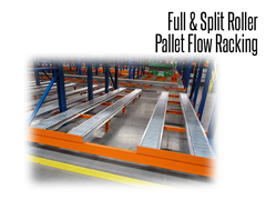 Split-roller racking is a perfect solution for non-standard pallets including plastic pallets, large bins, extra-long pallets, drums, etc.