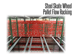 Skate wheel pallet flow racking is durable and adaptable with custom mounting accessories available.