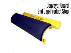 The conveyor guard end cap/product stop is a two in one product for the end of a conveyor line.  If mounted from the top of a conveyor, it serves as a product stop; it can also be reversed and mounted from the bottom to be used as an end cap for the conveyor line.