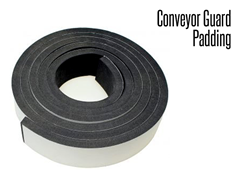 Conveyor Guard Padding is a product that is applied to the outside of any conveyor guard rails and/or the End Cap/Product Stop products.