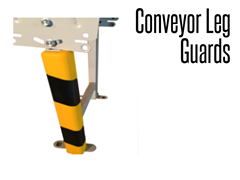 Conveyor leg guard is a heavy duty foam product that can be attached to conveyor legs on a conveyor line.