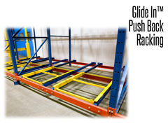 The standard components of most drive-in storage systems can be retrofitted to accommodate a glide-in/Push Back system.