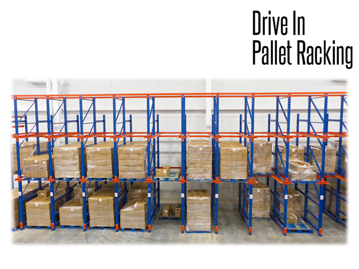 Drive-In storage systems are free-standing, self-supporting racks that allow a vehicle drive-in access to products being stored.