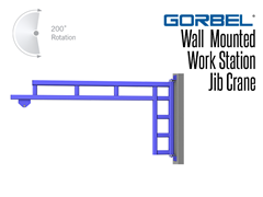 Gorbel™ wall or column mounted jib crane uses tapered roller bearings at the pivot points for unsurpassed ease of rotation.