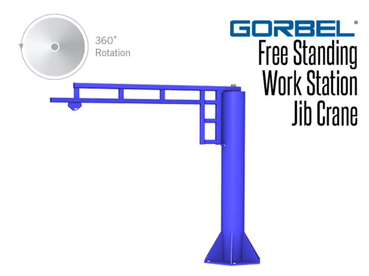 Gorbel™ Free Standing Series Jib Cranes can usually be bolted directly to your existing floor without adding special foundations.