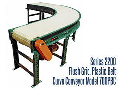 Series 2200 Flush Grid Plastic Belt Curve Conveyor, Roach Model 700PBC, is suitable for long, wide conveyor runs in applications such as packing, testing, inspecting and various assembly line operations