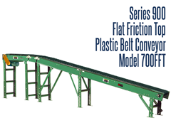 Series 900 Flat Friction Top Plastic Belt Conveyor, Roach Model 700FFT is designed for inclined and declined carton handling operations.
