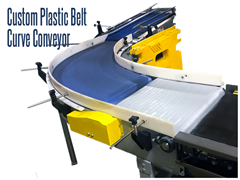 Thomas Conveyor & Equipment offers made to order design and installation of Plastic Belt Curve Conveyors. These custom belt curves are purposed for accommodating tight curves and allowing maximum efficiency in manufacturing, food processing, distribution and packaging industries.