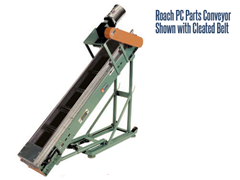 Roach Model PC Parts Handling Conveyor with Cleated Nitrile Belt