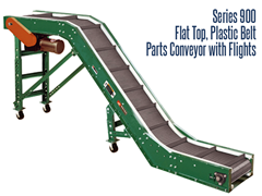 Roach Model PC-F Parts Conveyor with Feeder and Flights