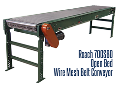 Roach Model 700SBO Open Bed Style Wire Mesh Belt Conveyor offers wire mesh beds conveyance to allow air or various sprays to pass through the belt to accommodate spraying or drying applications
